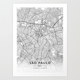 Sao Paulo, Brazil - Light Map Art Print