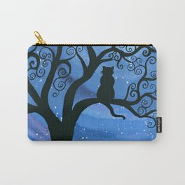 Meowing at the moon - moonlight cat painting Carry-All Pouch