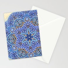 Blue Morocco Tile Mandala Stationery Cards