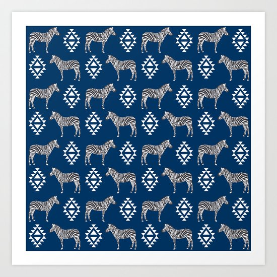 Zebra minimal navy and white modern pattern basic home dorm decor nursery Art Print