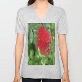 Beautiful Bottle Brush Flower With Garden Background Unisex V-Neck