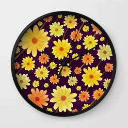 Yellow dots, Yellow Flower, Floral Pattern, Yellow Blossom Wall Clock