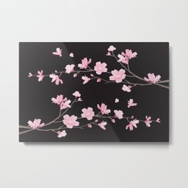 Cherry Blossom - Black Metal Print