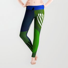 Modern Mid Century Fun Colorful Abstract Minimalist Painting Shapes & Patterns Swamp Monster Greens Leggings