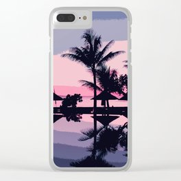 Tropical Summer Silhouette Clear iPhone Case