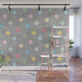 Retro Atomic Stars Explosions Pattern - Grey Wall Mural