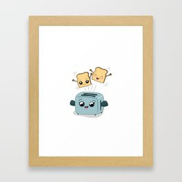 Cute Kawaii Toast and Toaster Framed Art Print