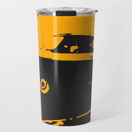 Fiat 500 classic, Yellow on Black Travel Mug
