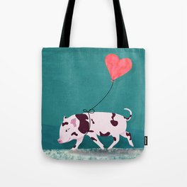 Baby Pig With Heart Balloon Tote Bag