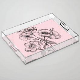 Palid Flowers  Acrylic Tray