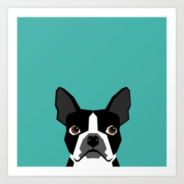 Boston Terrier head dog breed gifts cute pupper boston terriers must haves Art Print
