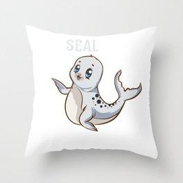 Seal(ion) Sea Lion Pun Funny Baby Sealion Pun Throw Pillow