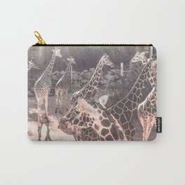 Giraffe Party // Spotted Long Neck Graceful Creatures in Wildlife Preserve Carry-All Pouch