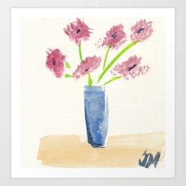Pink Flowers in Blue Vase Art Print