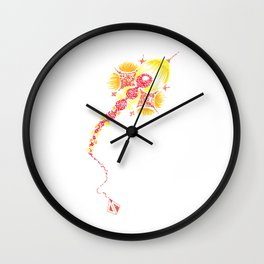 Abstract kite - Red and yellow Wall Clock