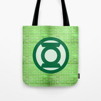 green lantern Tote Bags featuring Green Lantern by DeBUM