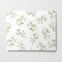 olive branch pattern design - white Metal Print
