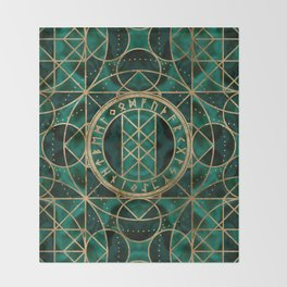 Web of Wyrd The Matrix of Fate - Gold and Malachite Throw Blanket