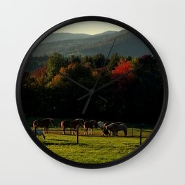 Draft Horses in Vermont Foliage Wall Clock