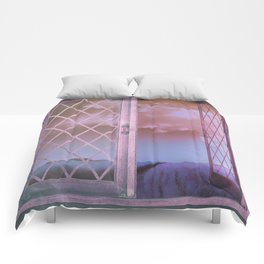 Lavender Fields in Window Shabby Chic original art Comforters