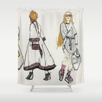 sassy Shower Curtains featuring SASSY BXTCHES by Chloe Laura