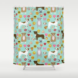 pitbull emoji dog breed pattern Shower Curtain