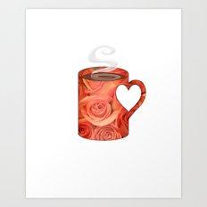 roses heart handle mug - coffee cup series Art Print