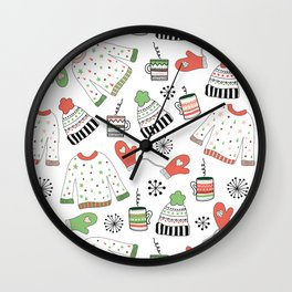 Warm Winter Wear Wall Clock