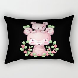 Animal family cute mice with flowers Rectangular Pillow