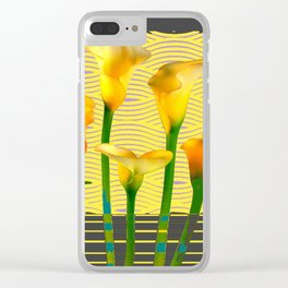 Modern Charcoal Grey Golden Calla Lilies Art Clear iPhone Case