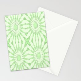 Pastel Green Pinwheel Flowers Stationery Cards