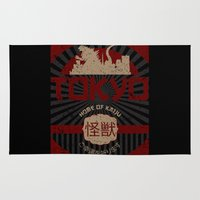 kaiju Area & Throw Rugs featuring Tokyo home of kaiju poster by BomDesignz