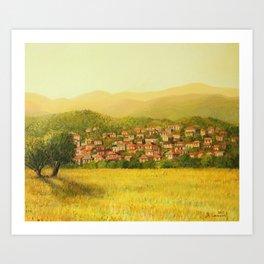 Golden Rural Scene Art Print