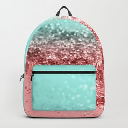Summer Vibes Glitter #5 #coral #mint #shiny #decor #art #society6 Backpack
