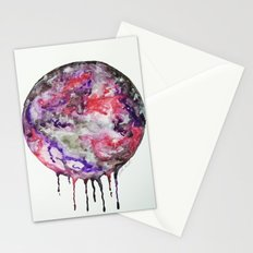 Watercolor Moon Drip Purple, Pink, Black,Grey,White Stationery Cards