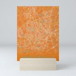 Fayetteville, NC, USA, Gold, Blue, City, Map Mini Art Print