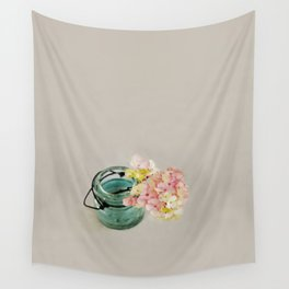 Pink and Yellow Hydrangeas on Taupe Wall Tapestry