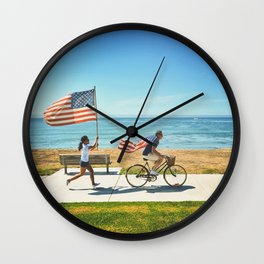 America flag bicycle Wall Clock