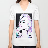 marilyn V-neck T-shirts featuring Marilyn by Saundra Myles