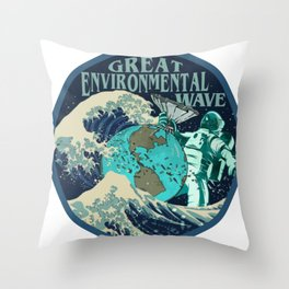 Great Environmental Wave Throw Pillow