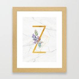 Modern glamorous personalized gold initial letter Z, Custom initial name monogram gold alphabet prin Framed Art Print