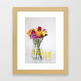 Brightly Coloured Roses in 60's Glass Jug Framed Art Print