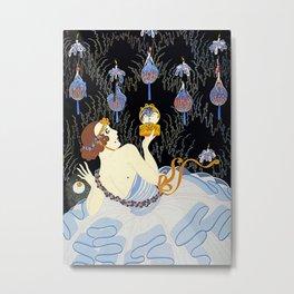 """Art Deco Illustration """"Stolen Kisses"""" by Erté Metal Print"""