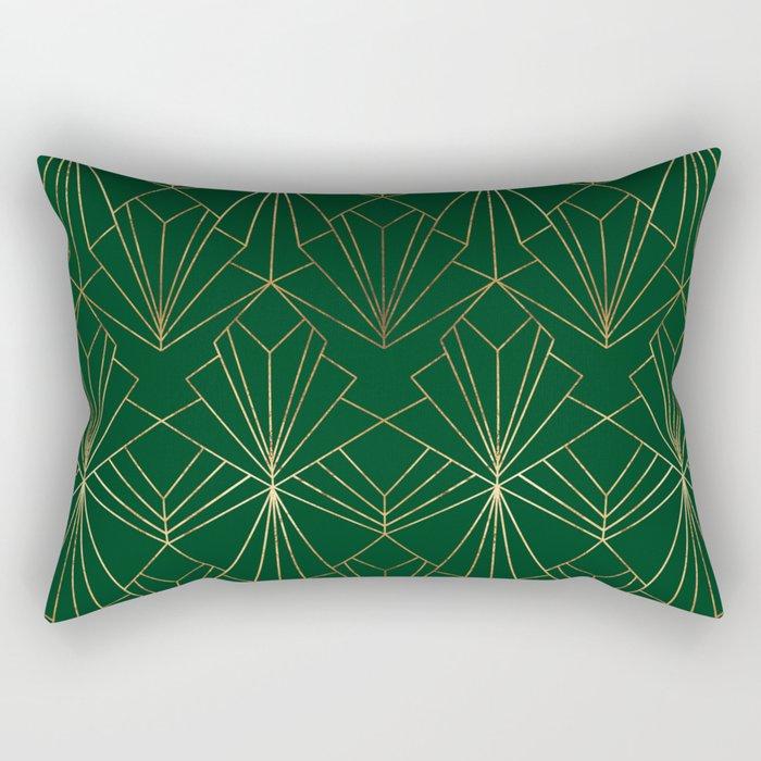 Art Deco in Gold & Green Rectangular Pillow