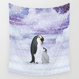 emperor penguins in the snow Wall Tapestry