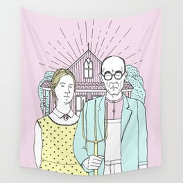 American Gothic Pop Wall Tapestry