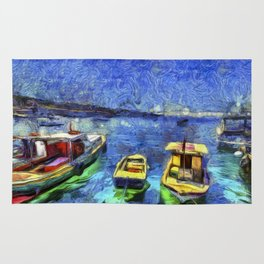 Boats and Sea Impressionist Art Rug
