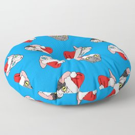 Christmas sphynx (naked cat) on blue Floor Pillow
