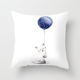 Cat With Balloon Throw Pillow