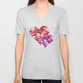 Two Candy Hearts - Pink, Red and Purple Valentine's Day Love Unisex V-Neck